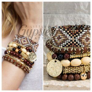 Seven Layer Stacked Beaded Bracelets